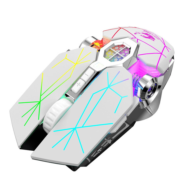 Wireless Rechargeable Game Mouse Mute Liquid-cooled Shining Mechanical Mice Mouse 2.4GHz Ergonomic Mice For Laptop PC Mouse#T2 3