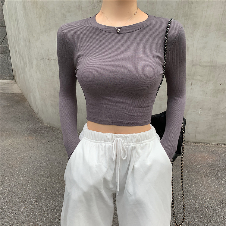 Women O-neck Cropped T-shirts Girls Full Sleeve Sheath Thin Tshirt Basic Crop Tops For Female GR2100