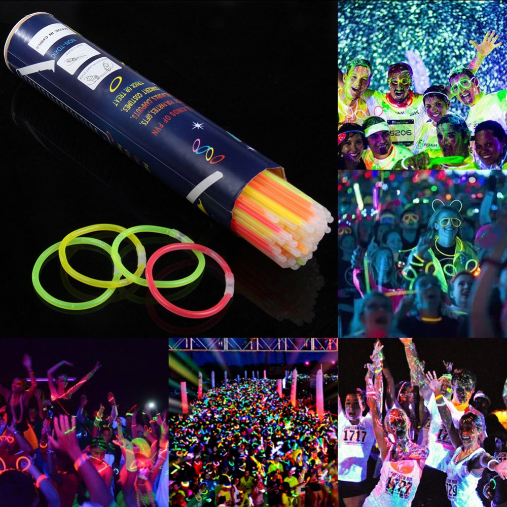 100pcs/lot Neon Party Glowstick Glow In The Dark Light Up Toys Fluorescence Sticks Bracelets Necklaces Party Luminous Decor E