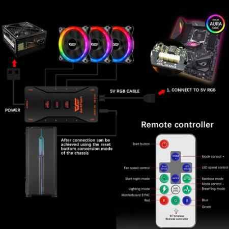 Aigo dark flash أصيلة DR12-Pro الكمبيوتر مسند تبريد للاب توب مدمج به مكبر صوت RGB المشجعين الكمبيوتر وحدة معالجة خارجية مروحة RGB ضبط 3 P-5 فولت هالة مزامنة LED 120 مللي متر مروحة