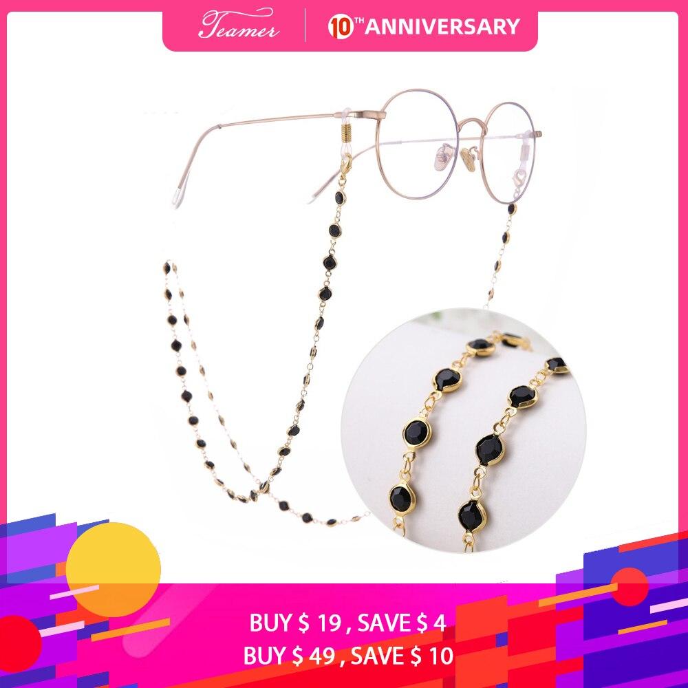 Teamer 78cm Black Crystal Beads Glasses Chains  Fashion Women Men Eyewear Accessories Sunglasses Lanyard Strap Cord