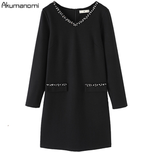Image 4 - ชุดสตรีฤดูใบไม้ร่วง 2019 Plus ขนาด 5XL เพชร V คอเต็มรูปแบบสำนักงานจัดส่งฟรี Vestidos De Verano Robe femme