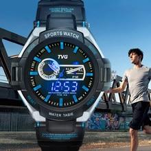Männer Uhr TVG 801 Digitale Uhr V-Schock Elektronische Uhr LED Dual Display Quarz MAXELL 2032 Relogio Digitale Armbanduhren 2020