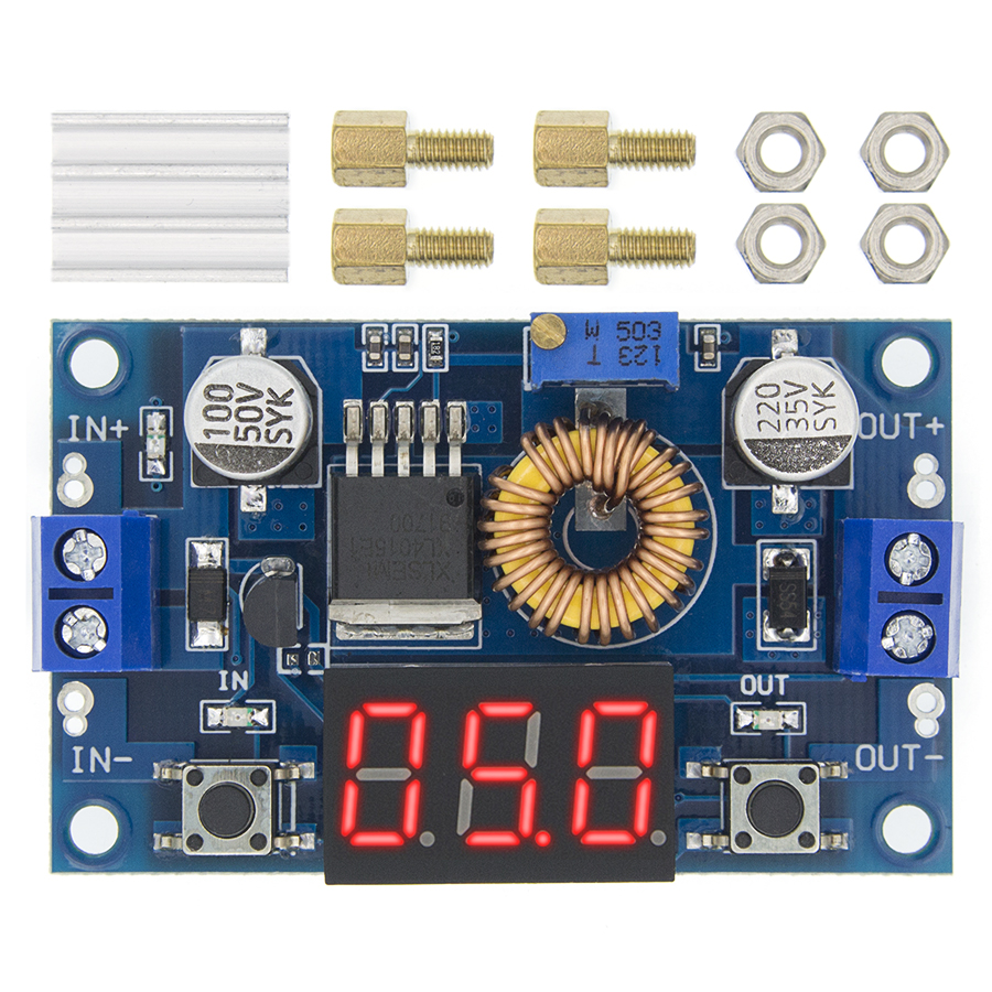 75W 5A DC-DC Adjustable Step Down Converter Module Board with LED Voltmeter
