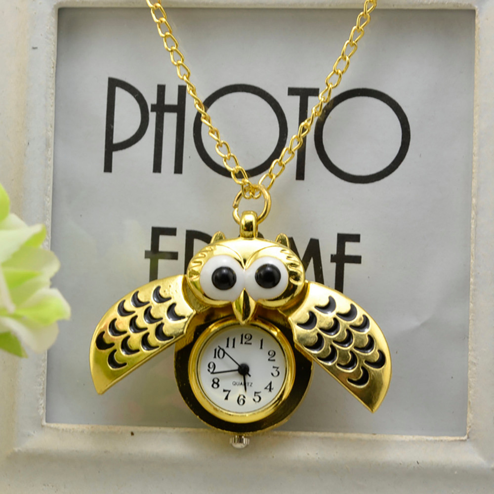 H45fde9228bb84e448134fecb471a94e59 - Pocket Watch Vintage Style Retro Slide Owl Pendant Long Necklace Analog Pocket Watch Gift Bundy Party Watch gift