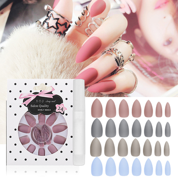 24Pcs Fake Nails Matte Acryl Nagel Tips Fashion Stiletto False Nails Pointed Sharp Artificial False Nails with Glue image