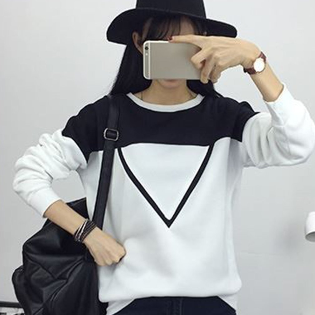Autumn Winter Women Hoodie Sexy Black/White Patchwork O- Neck Cotton Pullover Slim Warm Lady Tops Sweatshirts Clearance