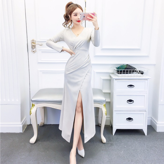 Network Red Dress Children High Quality New Style Fashion Debutante Dress Autumn And Winter Slim Fit Slimming Skirt Slit Fishtai
