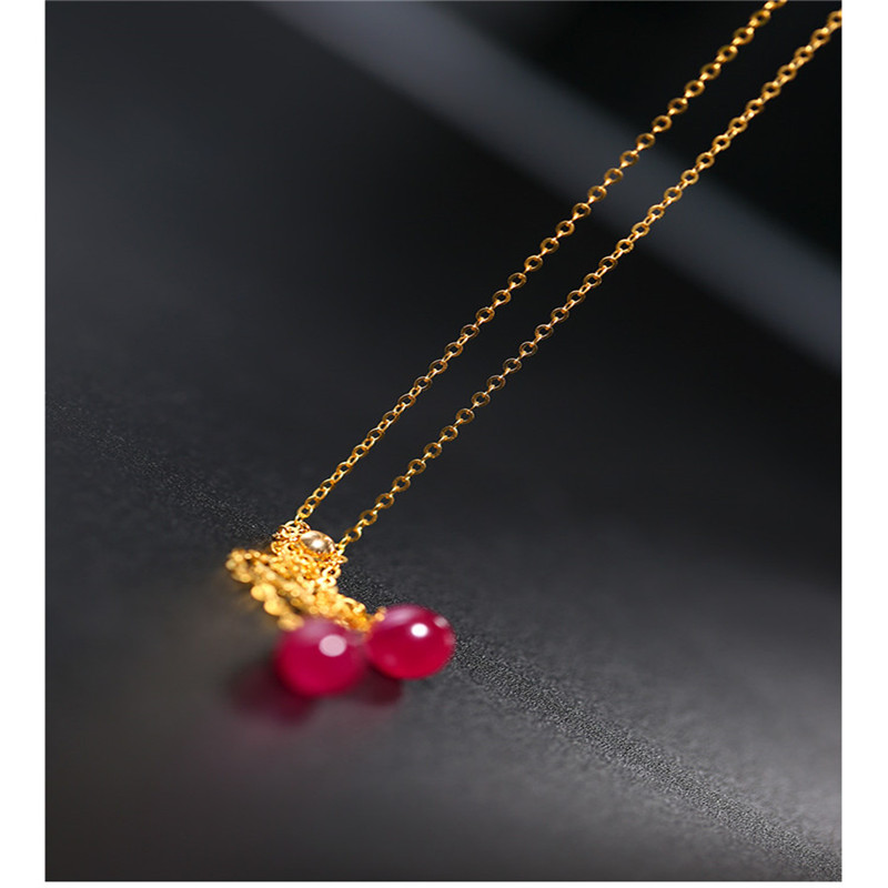 18k Gold Gemstone Necklace Ruby pendant handmade Colorful treasure necklace Female Gysophila Clavicle chain