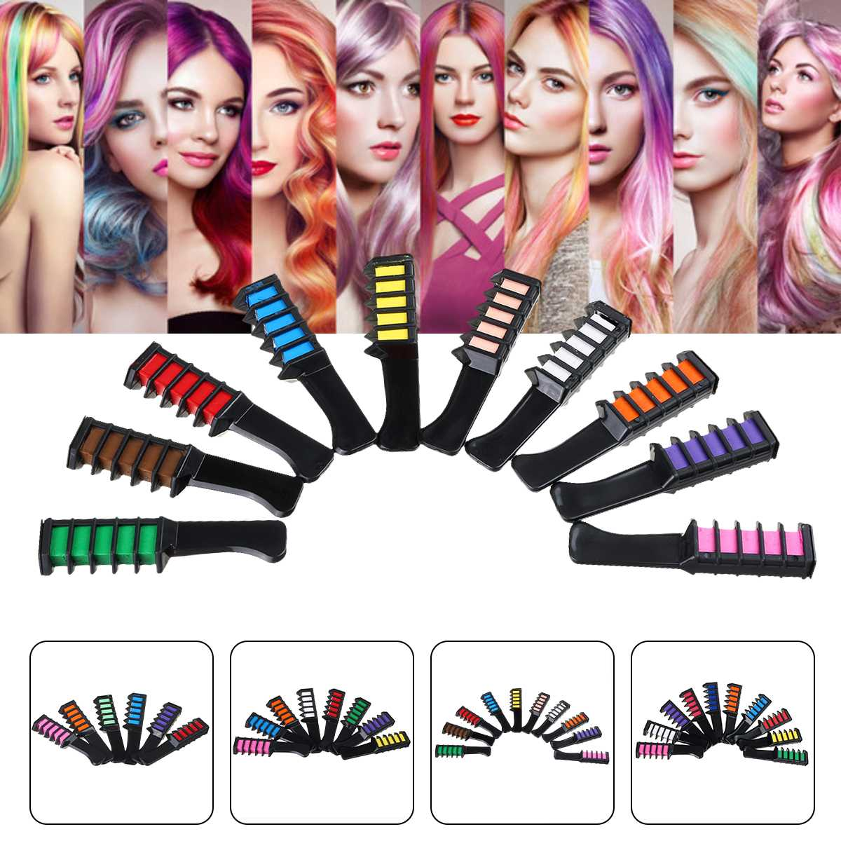 6/10 Color Set Temporary Hair Chalk Color Comb Dye Cosplay Washable Hair Color Comb for Party Makeup