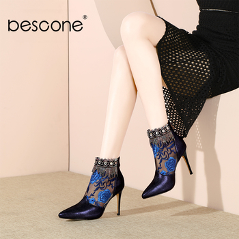 BESCONE Fashion Design Boots High Quality Kid Suede Special Embroidered Sexy Pointed Toe Shoes New Women's Ankle Boots BO314
