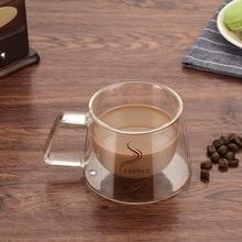 Urijk кружка с двойными стенками, кофейная кружка с теплоизоляцией, офисные кружки, двойная кофейная стеклянная чашка, посуда для напитков, молоко, 200 мл, капелька