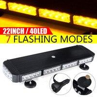 12V 24V 22 40 LED Car LED Roof Strobe Light Bar Emergency Signal Warning Light Flash Amber Magnetic Truck Trailer Bus Pickup