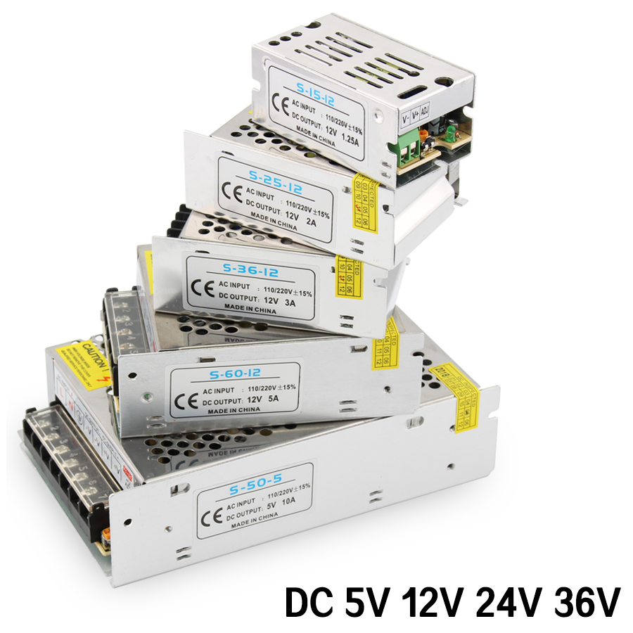 AC DC 5V 12V 24V 36V Power Supply 1A 2A 3A 4A <font><b>5A</b></font> 6A 8A 10A 15A 20A 30A Transformers 220V To 5V 12V 24V Power Supply <font><b>5</b></font> 12 24 36 <font><b>V</b></font> image