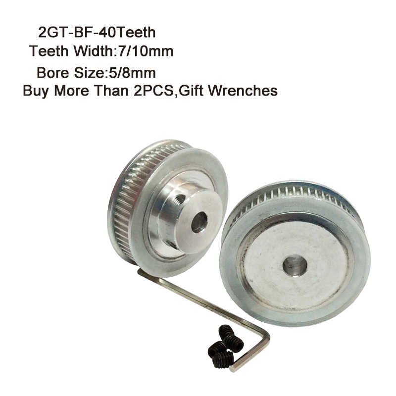 2GT-BF Timing Pulley 40Teeth 5/8mm Bore 7/10mm Teeth Width GT2 Synchronous Wheel Fit GT2 Belt Width 7mm 10mm 3D Printer Parts