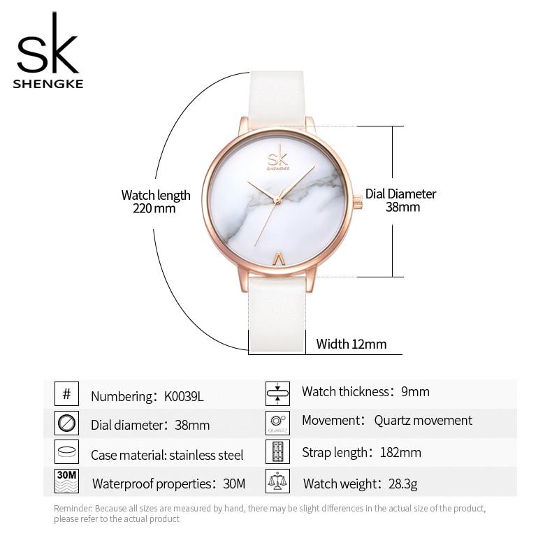 Shengke Top Brand Fashion Ladies Watches Elegant Female Quartz Watch Women Thin Leather Strap Watch Montre Femme Marble Dial SK