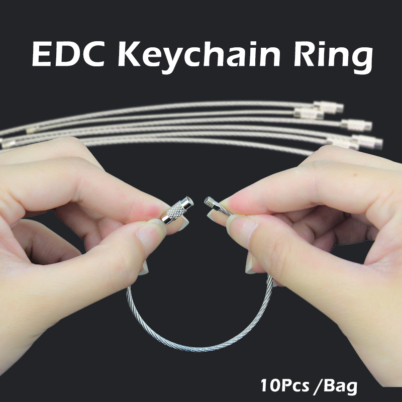 10Pcs Stainless Steel EDC Keychain Ring Carabiner Key Chain Buckle Hook Clip Outdoor Wire Rope Survival Tool Self Defense Supply
