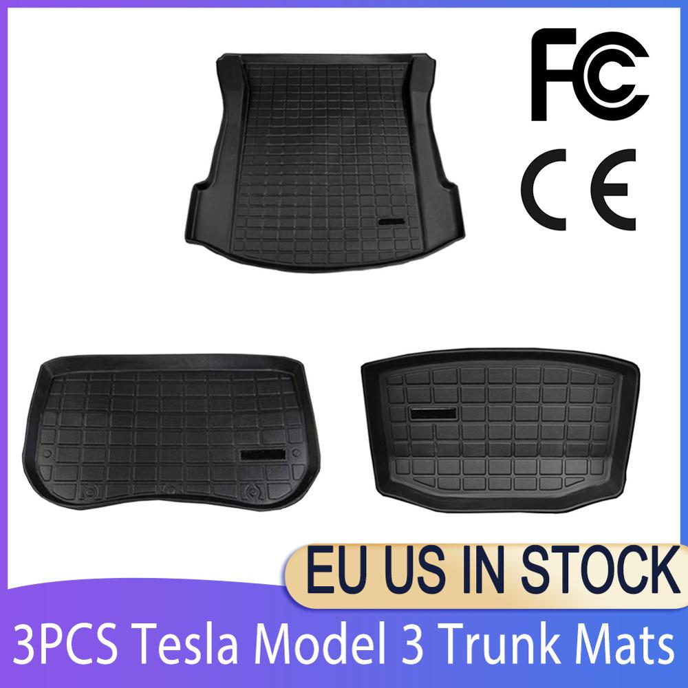 For Tesla Model 3 Trunk Mats Customized Car Rear Trunk Storage Mat Cargo Tray Trunk Waterproof Protective Pads Mat Compatible