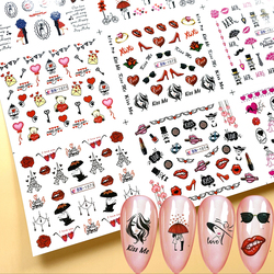 12 Designs Romantic Valentines Water Decals Sliders Sexy Lips Flower Heart Tattoo Wraps Nail Art Decorations MYBN1069