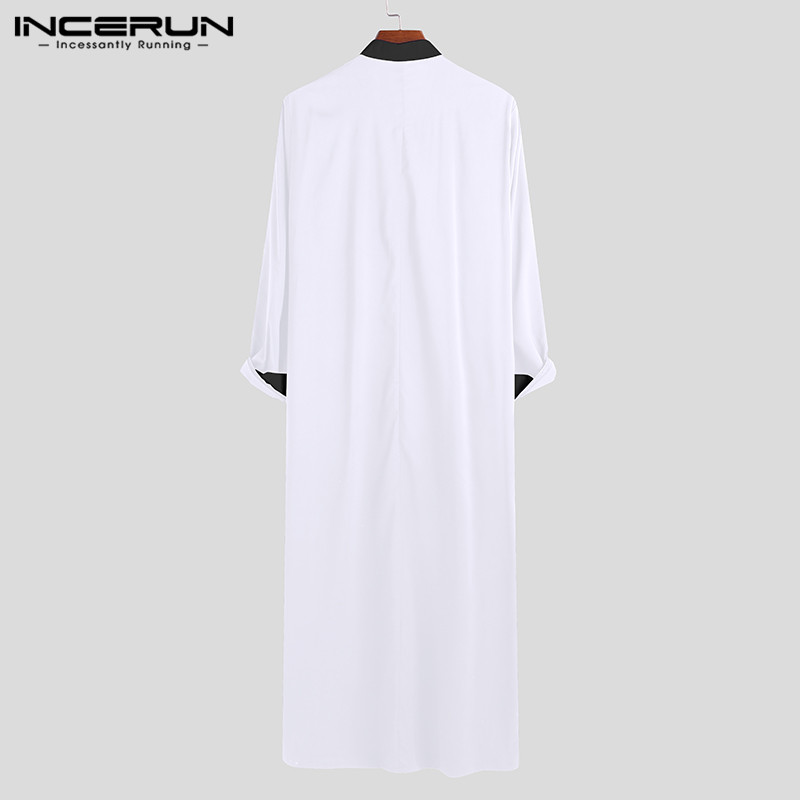 INCERUN Men Islamic Arabic Kaftan Muslim Clothing Long Sleeve Patchwork Abaya Robes Fashion Saudi Arabia Dubai Mens Jubba Thobe