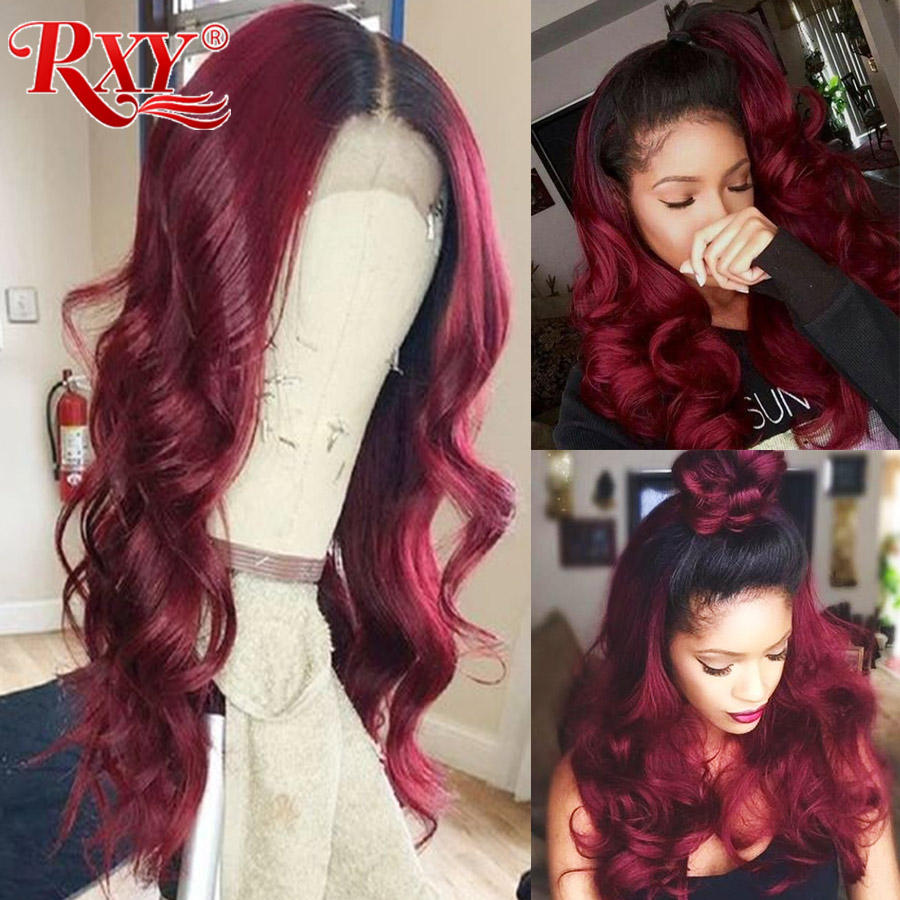 RXY T1B/99J Burgundy Lace Front Wig Lace Front Human Hair Wigs Pre Plucked Body Wave Remy Brazilian Human Hair Wigs For Women