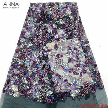 Anna fashion french sequins lace fabric 2020 high quality embroidered 5 yards/pcs african tulle laces fabrics for garment sewing