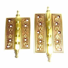 1Pcs Luxury Crown Head Door Hinges Solid Brass Thick Flat Rose Gold Heavy Duty Mute Villa Gate Copper Hinge Hardware Accessories