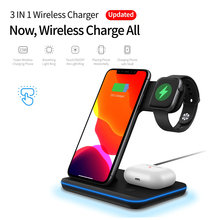 Wireless Charger Stand 3 in 1 Qi 15W Fast Charging Dock Stat
