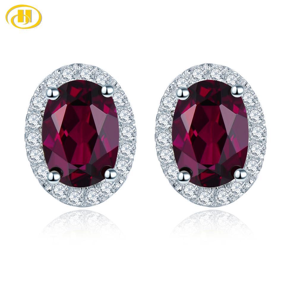 Hutang 2.06ct Genuine Rhodolite Garnet 925 Silver Stud Earrings Solid 925 Sterling Silver Fine Elegant Jewelry for Women|Stud Earrings| - AliExpress