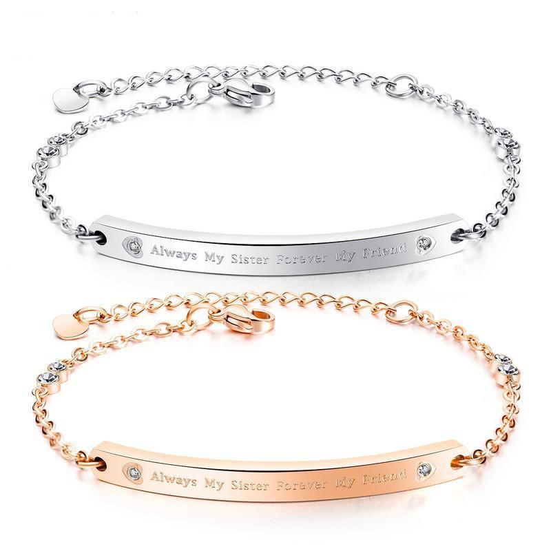 Fashion Rose Gold Women Bracelet Adjustable Chain Link Cubic Zirconia Bracelets For Sister Friends Jewelry Friendship Gift