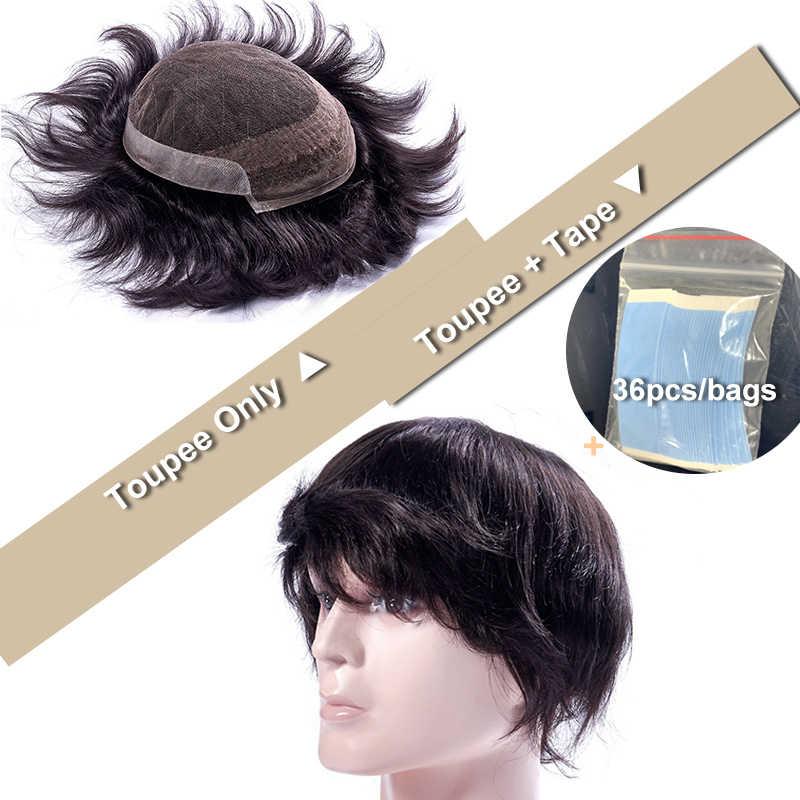 Ali pelo de la reina de encaje francés con PU hombre tupé sistemas de repuesto de cabello Remy indio peluquín de cabello hombres peluca