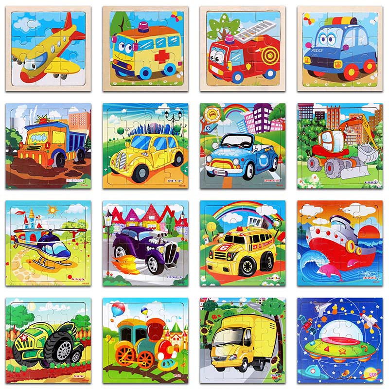 9/16 Pieces Kids Puzzle Vehicle Wooden Puzzles Cartoon Car Traffic Wood Jigsaw Baby Educational Learning Toys Children