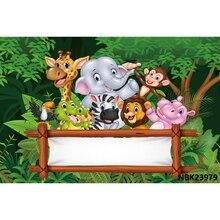 Dżungla 7x5ft Safari urodziny spersonalizowane słowa Photocall plakat portret dziecka zdjęcie tła fotograficzne tła