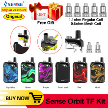 Original Sense Orbit TF Pod System vape pen Kit 1100mAh Battery 3ml Refillable Pod 1.5H Charing DL MTL E Cigarette Pod Vape Kit