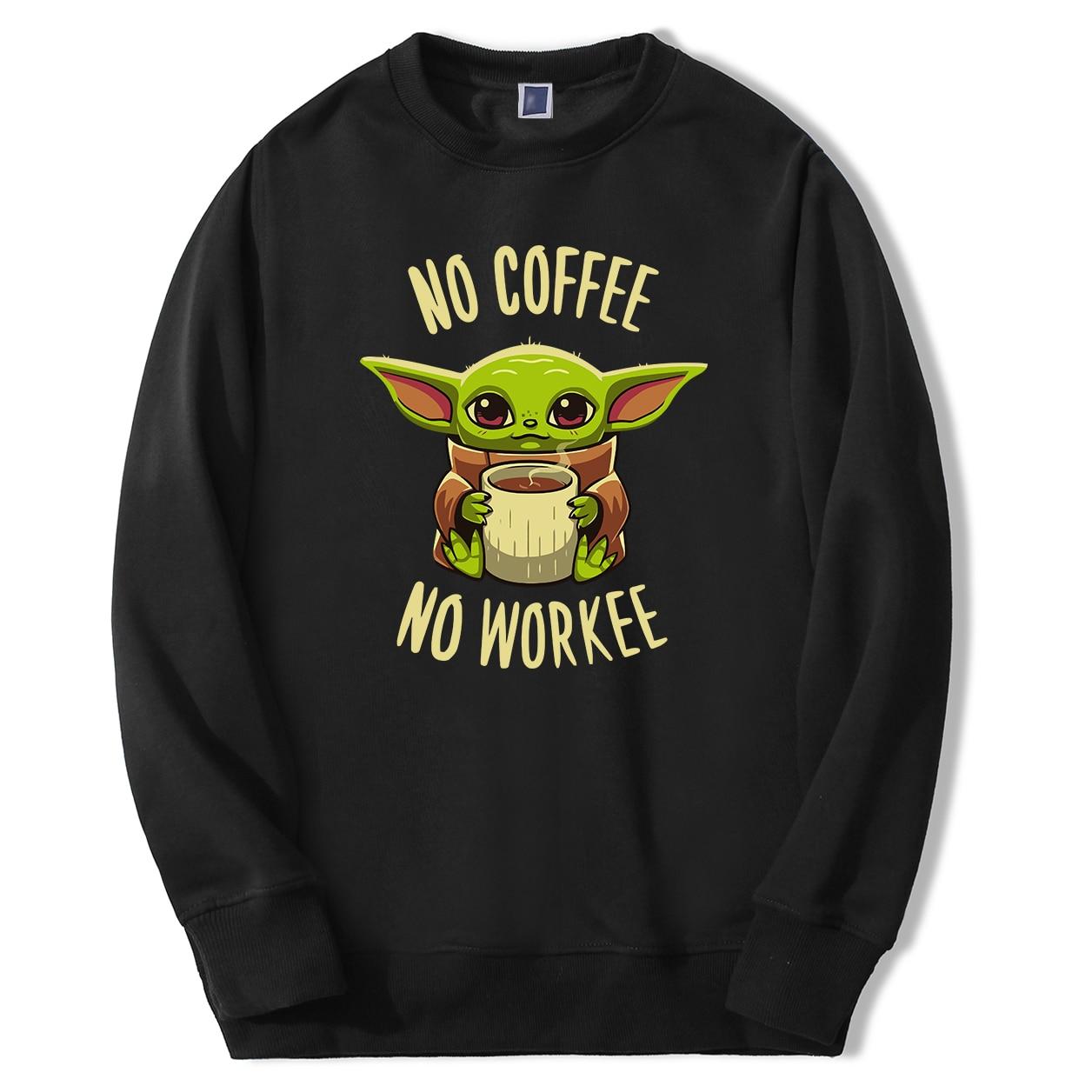 The Mandalorian Men's Sweatshirts Cute Baby Yoda Nocoffee No Workee Male Hoodies Sweatshirts 2020 Spring Autumn Hoody Sweatshirt