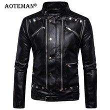 5XL Men PU Leather Jackets Coat Male Sport Biker Motorcycle Outwear Vintage Windbreaker Spring Autumn Men Outdoor Coats LB142