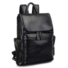 PU Laptop Backpack Leather Bag 15.6 Notebook Men Bagpack Mochilas Black Leather Backpacks Male Bags Travel Back Pack School Man brand designer male genuine leather laptop back pack rucksack top quality travel backpack men notebook computer bag black