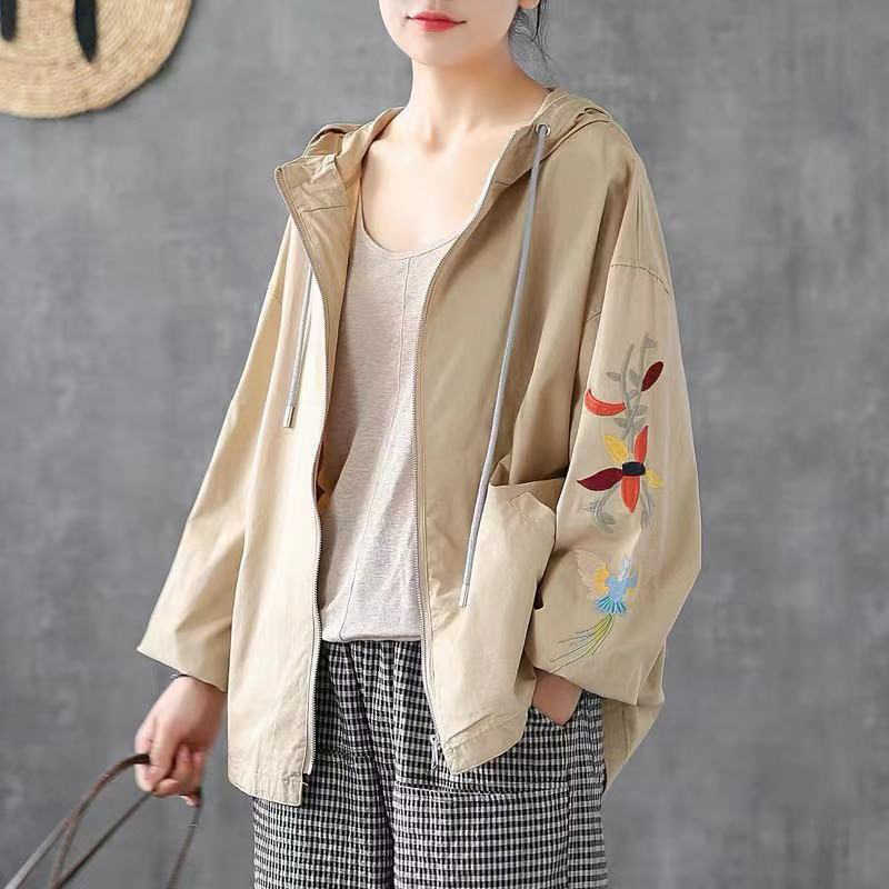 Spring Autumn New Korea Fashion Women Long Sleeve Loose Casual Jackets Female Cotton Embroidery hooded Coats Plus Size D385