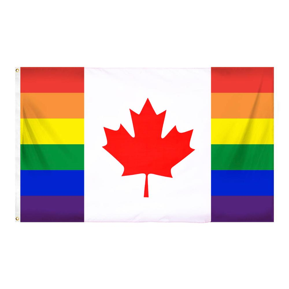 LGBTQ Rainbow Pride Canadian Flag