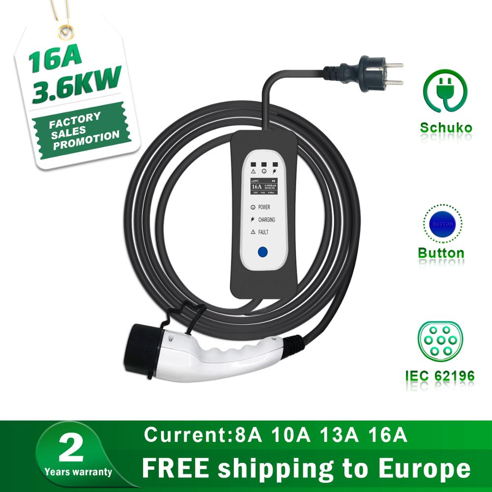 Type 2 Portable EV Charging Box Switchable 10A 13A 16A Schuko Plug Electric Vehicle Car Charger EVSE 3.5kw
