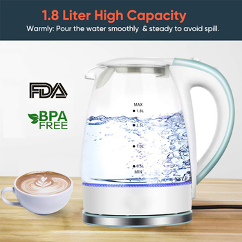 health raising pot fully automatic thickened glass multi function tea ware body electric heating kettle ware anti dry protection Electric Kettle Home Kitchen Appliances Cordless 1.8L LED light Electric Glass Kettle Automatic shut-off Boil-dry Protection