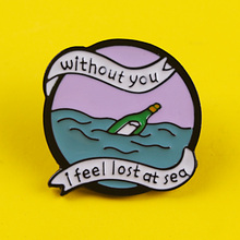 Drifting Bottle Brooches Badges for Backpack Adventure Clothes Enamel Pins Backpacks Lapel Pin Badge Gift