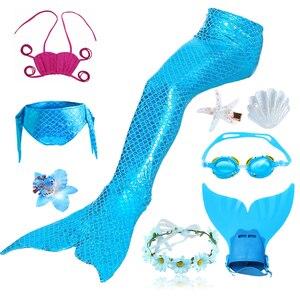 Image 5 - 9 pz/set Ragazze Balneabile Mermaid Tails Cosplay Costumi Delle Ragazze Dei Bambini di Nuoto del Bikini Costume Da Bagno Costume Da Bagno con I Capelli Pinze Monofin