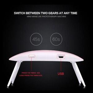 Image 2 - 6W 네일 건조기 UV LED 램프 휴대용 USB 케이블 홈 사용 네일 UV 젤 광택 건조기 6 LED 램프 네일 아트 도구 2 색