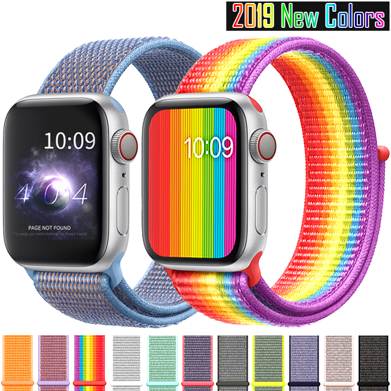 nylon sport loop strap For Apple Watch band 42mm 44mm 40mm 38mm iWatch 5 4 3 2 1 bracelet wrist watchband accessories in Watchbands from Watches