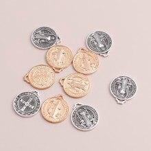 10 pièces 22*25mm croix ronde jésus breloques pour collier pendentifs bijoux chrétiens fabrication de breloques à assembler soi-même artisanat accessoires faits à la main