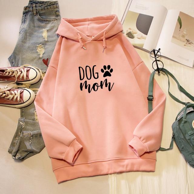 Dog Mom Letter Print Hoodies Women Korean Fashion Kawaii Graphic Sweatshirt Oversized Long Sleeve Female Pullover Streetwear Top 1
