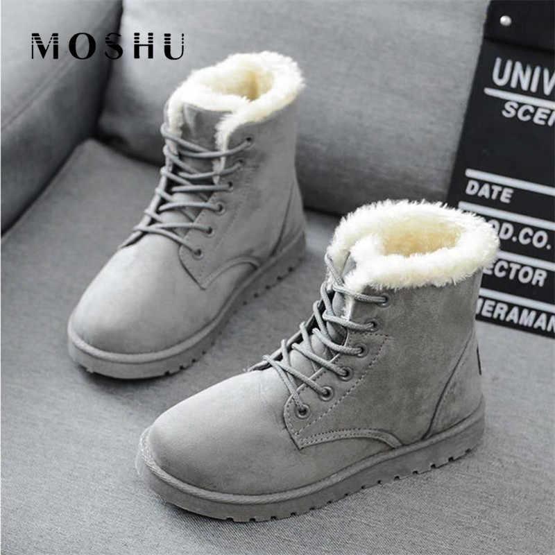 Kış sıcak kürk çizmeler kadınlar için yarım çizmeler kadın kar ayakkabıları bayanlar Lace Up süet üst ile peluş astarı Botas Mujer artı
