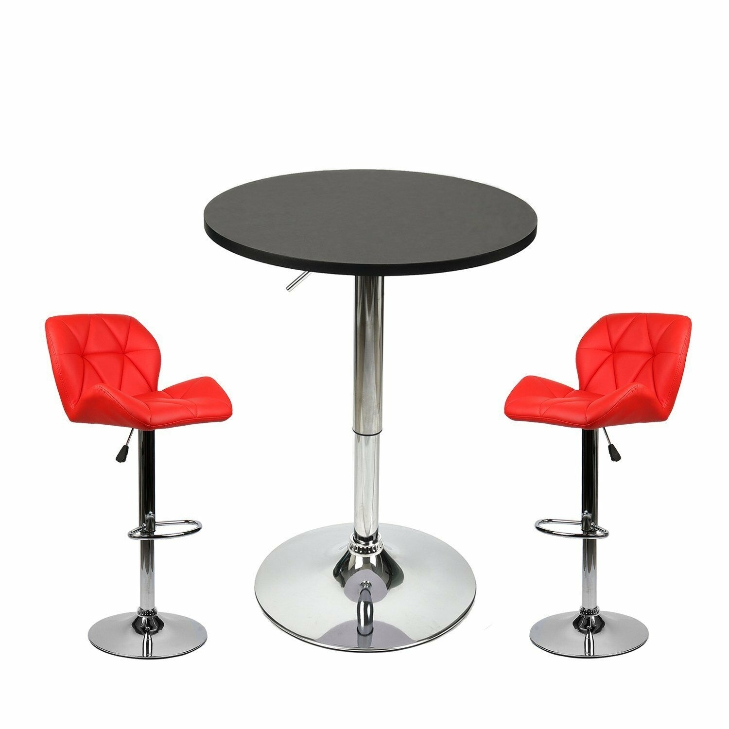 3 Piece Pub Table Set Velvet Bar Stools Counter Height Home Kitchen Furniture US