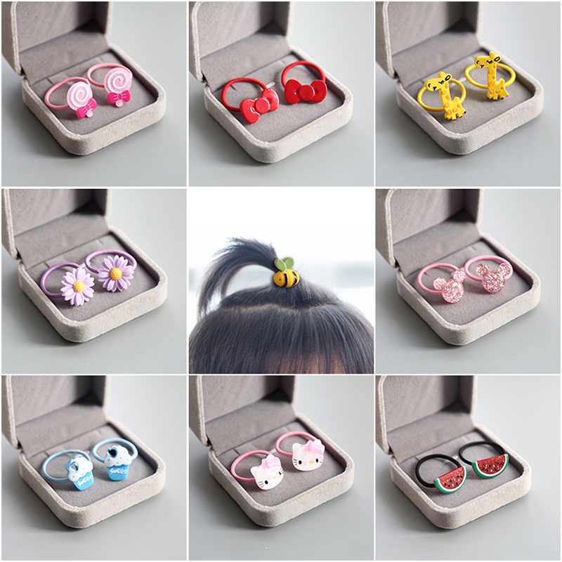A Pair Cute Baby Hair Ring Animal Fruit Small Head Rope Rubber Band Elastic Hair Band Acrylic Children Hair Accessories Headwear